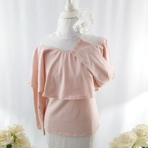 Ruffled Pink Off the Shoulder Stretch Knit Top